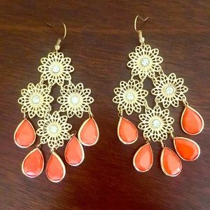 Orange and Gold Earrings-  NEW